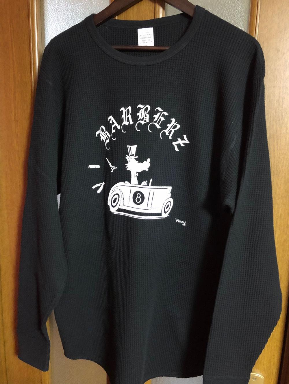 Barberezオリジナル ワッフルL/Sシャツ ブラック